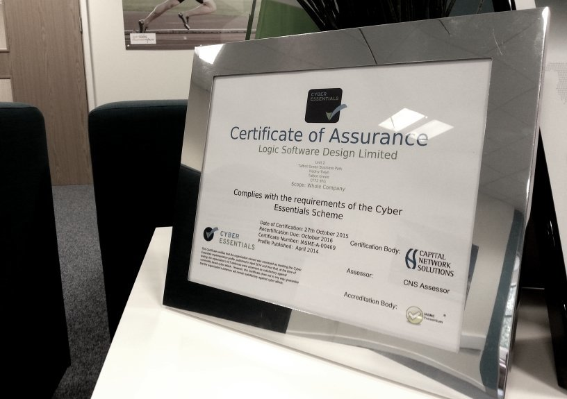 Logic Software's certificate displaying Cyber Essentials accreditation
